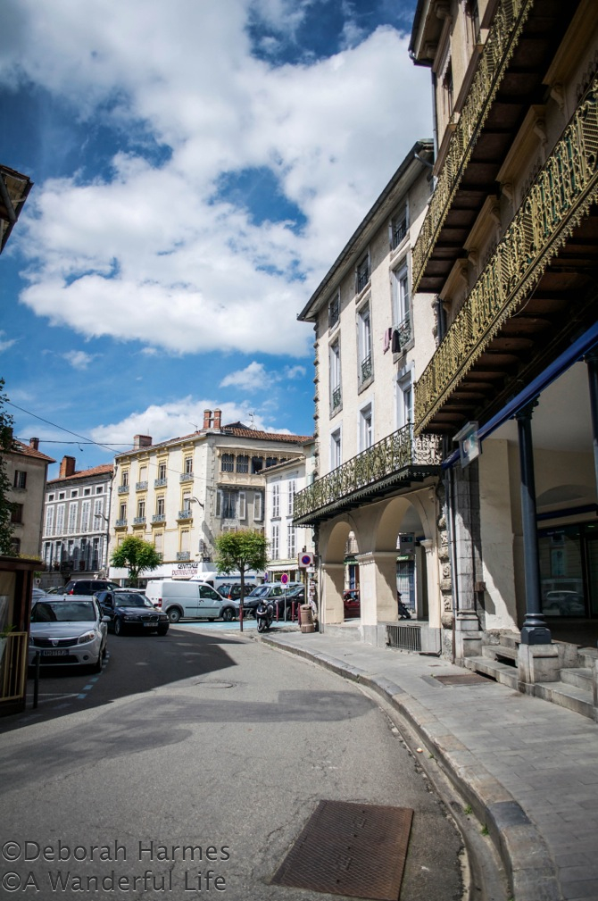 The curve of Rue Gambetta in St. Girons in the Midi-Pyrenees, France