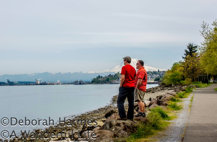 Mark and my son Chris standing at water's edge at Puget Sound with Mt. Rainier over their right shoulder.