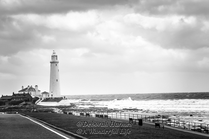 The lighthouse at Whitley Bay, a seaside town near Newcastle UK, on a stormy winter day. B&W