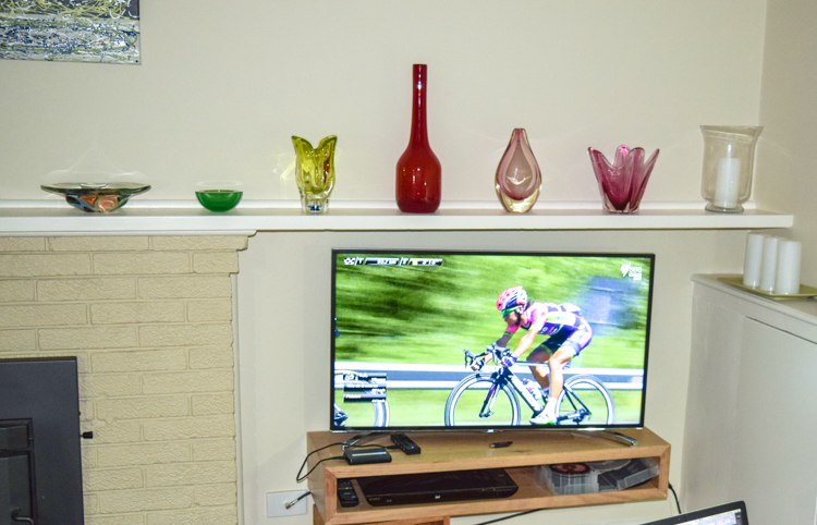 Watching the Tour de France on television in Australia.